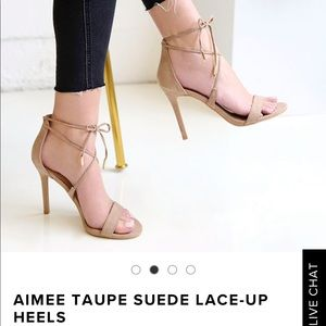 NEW with tags! Lulu's Aimee Taupe Lace up heels